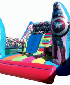 Castillo Hinchable Tobogán Doble Capitán América y IronMan sin Túnel